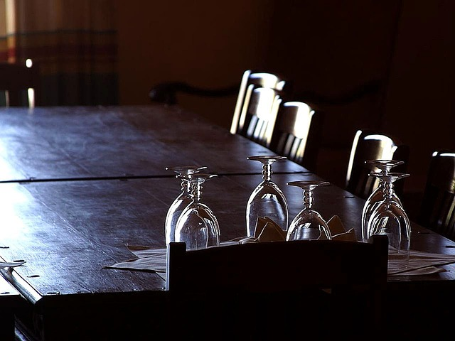 Glasses On Dining Room Table